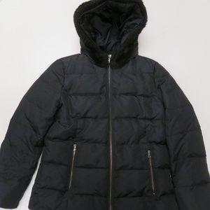 Ann Taylor Down Puffer Coat Jacket Fur Hood M